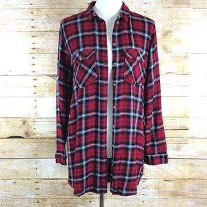 Divided Red and Black Plaid Button Down Blouse 8